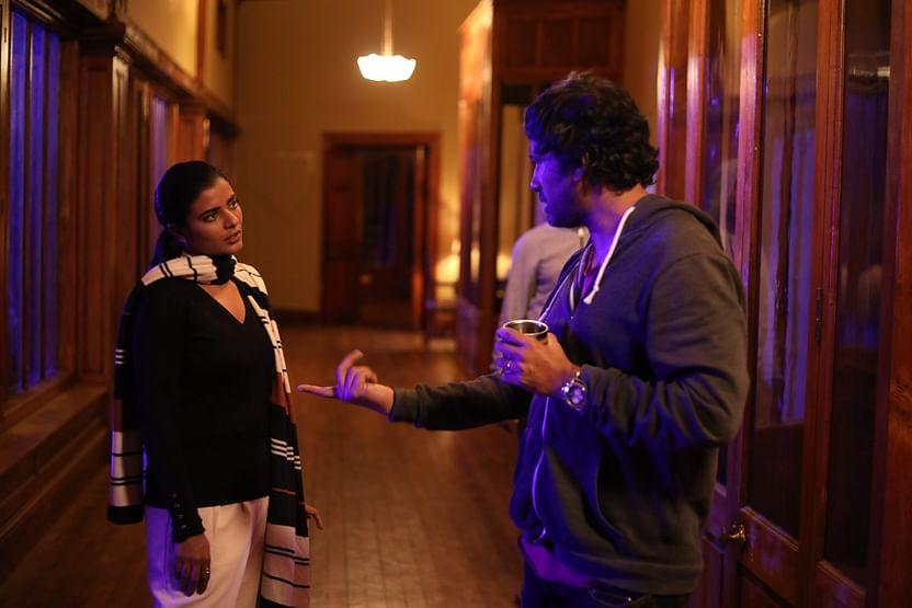 Aishwarya Rajesh and Rathindran on the sets of Boomika