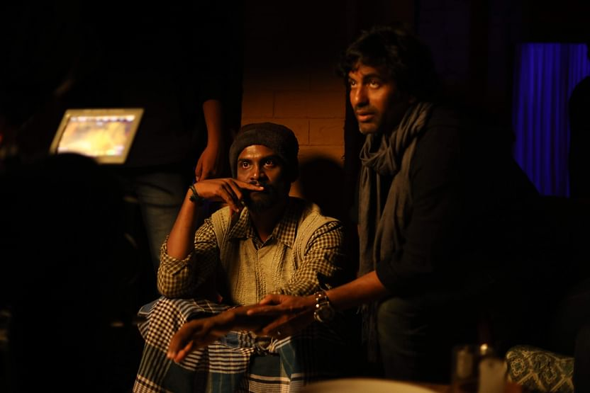 Pavel Navaneethan with Rathindran on the sets of Boomika