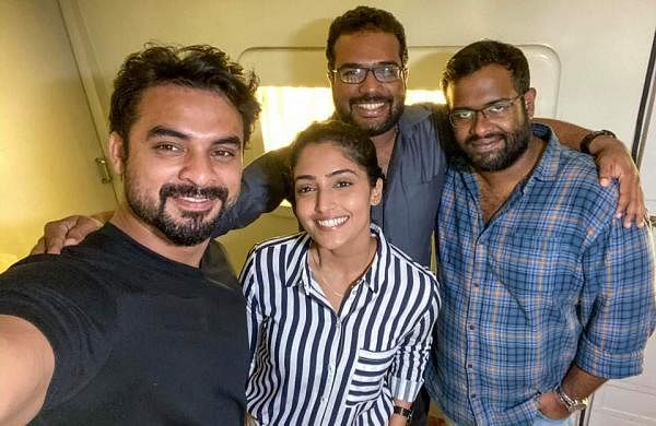 Reba with Tovino Thomas and writers of Forensic