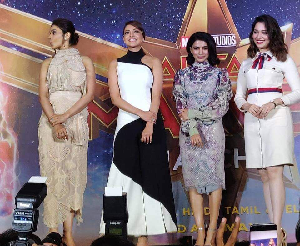 Samantha, Kajal Aggarwal, Tamannaah and Rakul Preet clicked at #HerInEveryHero event for Captain Marvel promotions.