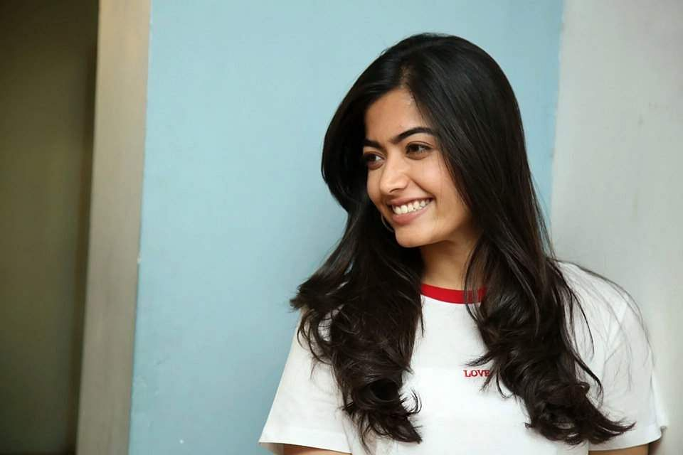 Rashmika Mandanna clicked at the Dear Comrade success meet