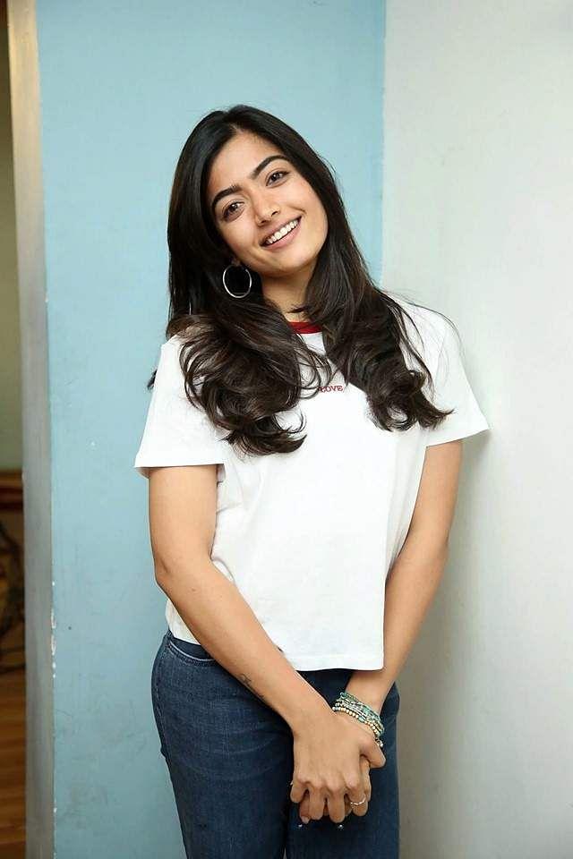 Rashmika Mandanna clicked at the Dear Comrade success meet