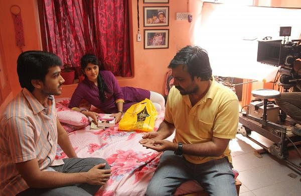 Balaji Tharaneetharan with Kalidas Jayaram and Megha Akash in Oru Pakka Kathai