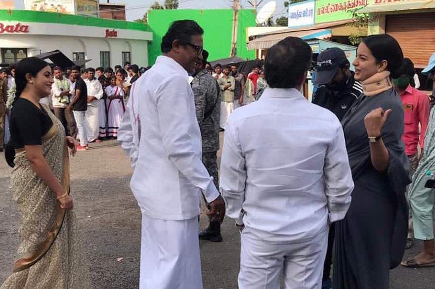 Samuthirakani and Kangana Ranaut on the sets of Thalaivi