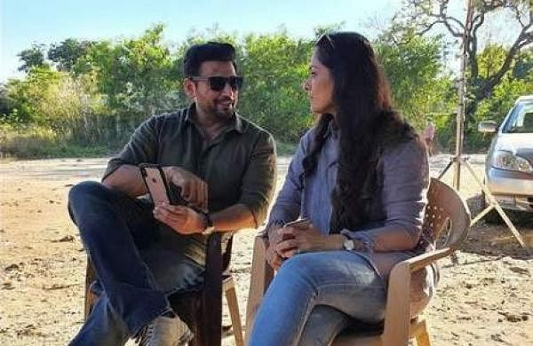 Prashanth and Simran on the sets of Andhaghan