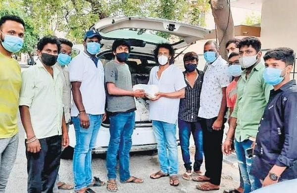 A star in real life: Actor Upendra distributes releif materials to film industry workers