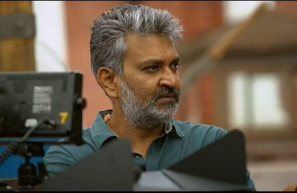 SS Rajamouli on the sets of RRR